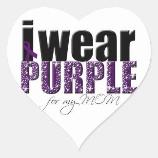 I Wear Purple For My Mom Heart Sticker