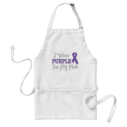 I Wear Purple For My Mom (Purple Ribbon) Aprons