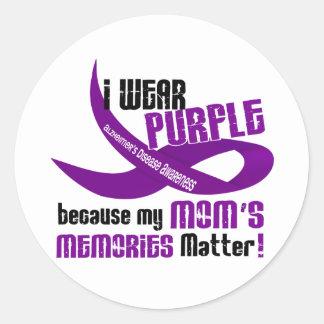 I Wear Purple For My Mom's Memories 33 Classic Round Sticker