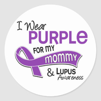 I Wear Purple For My Mommy 42 Lupus Round Stickers