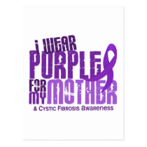 I Wear Purple For My Mother 6.4 Cystic Fibrosis Postcard