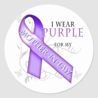 I Wear Purple for my Mother-In-Law Classic Round Sticker