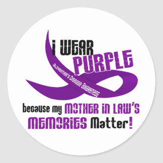 I Wear Purple For My Mother-In-Law's Memories 33 Classic Round Sticker