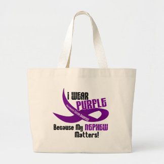 I Wear Purple For My Nephew 33 PANCREATIC CANCER Large Tote Bag