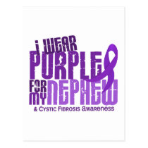 I Wear Purple For My Nephew 6.4 Cystic Fibrosis Postcard