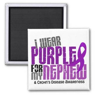 I Wear Purple For My Nephew 6 Crohn's Disease 2 Inch Square Magnet