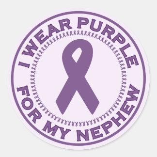 I Wear Purple For My Nephew Classic Round Sticker