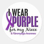 I Wear Purple For My Niece 10 Fibromyalgia Round Sticker