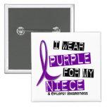 I Wear Purple For My Niece 37 Epilepsy 2 Inch Square Button