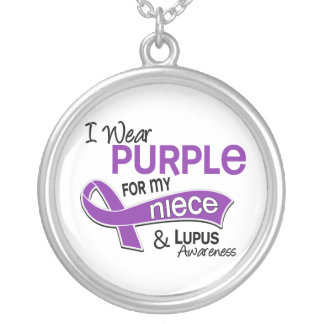 I Wear Purple For My Niece 42 Lupus Round Pendant Necklace