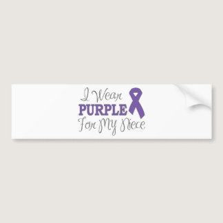 I Wear Purple For My Niece (Purple Ribbon) Bumper Sticker
