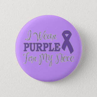 I Wear Purple For My Niece (Purple Ribbon) Button