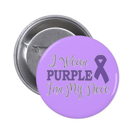 I Wear Purple For My Niece (Purple Ribbon) 2 Inch Round Button