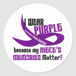 I Wear Purple For My Niece's Memories 33 Classic Round Sticker