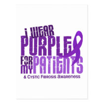I Wear Purple For My Patients 6.4 Cystic Fibrosis Postcard