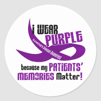 I Wear Purple For My Patients' Memories 33 Classic Round Sticker