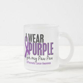 I Wear Purple For My Paw Paw 10 Pancreatic Cancer 10 Oz Frosted Glass Coffee Mug