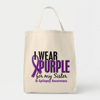 I Wear Purple For My Sister 10 Epilepsy Canvas Bags