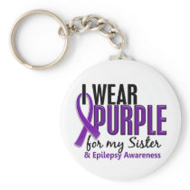 I Wear Purple For My Sister 10 Epilepsy Keychain