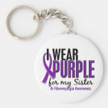 I Wear Purple For My Sister 10 Fibromyalgia Basic Round Button Keychain