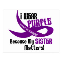 I Wear Purple For My Sister 33 PANCREATIC CANCER Postcard