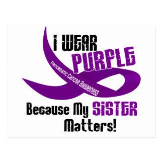I Wear Purple For My Sister 33 PANCREATIC CANCER Postcard