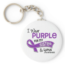 I Wear Purple For My Sister 42 Lupus Keychain