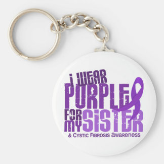I Wear Purple For My Sister 6.4 Cystic Fibrosis Keychain