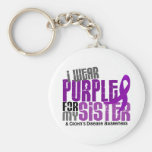 I Wear Purple For My Sister 6 Crohn's Disease Basic Round Button Keychain