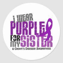I Wear Purple For My Sister 6 Crohn's Disease Classic Round Sticker