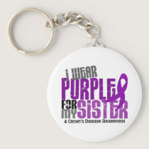 I Wear Purple For My Sister 6 Crohn's Disease Keychain
