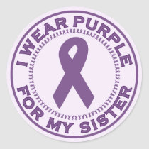 I Wear Purple For My Sister Classic Round Sticker