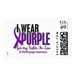 I Wear Purple For My Sister-In-Law 10 Fibromyalgia Postage Stamps