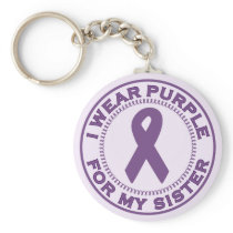 I Wear Purple For My Sister Keychain
