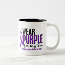 I Wear Purple For My Son 10 Epilepsy Two-Tone Coffee Mug