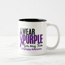 I Wear Purple For My Son 10 Epilepsy Two-Tone Coffee Mug