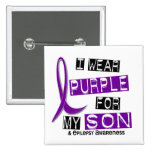I Wear Purple For My Son 37 Epilepsy 2 Inch Square Button