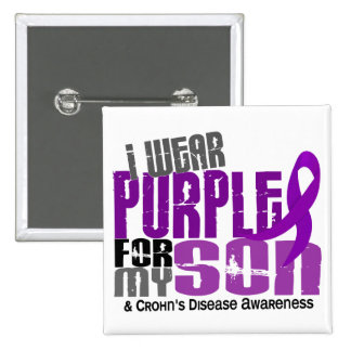 I Wear Purple For My Son 6 Crohn's Disease 2 Inch Square Button