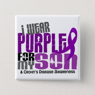 I Wear Purple For My Son 6 Crohn's Disease Button