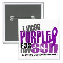 I Wear Purple For My Son 6 Crohn's Disease Button