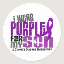 I Wear Purple For My Son 6 Crohn's Disease Classic Round Sticker