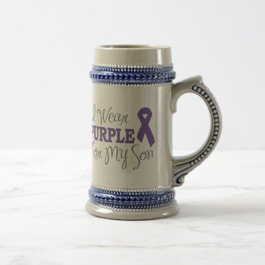 I Wear Purple For My Son (Purple Ribbon) Beer Stein