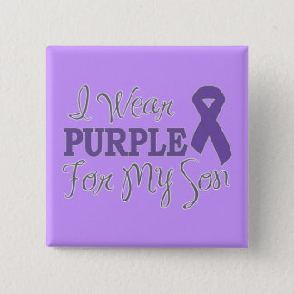 I Wear Purple For My Son (Purple Ribbon) Button