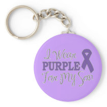 I Wear Purple For My Son (Purple Ribbon) Keychain