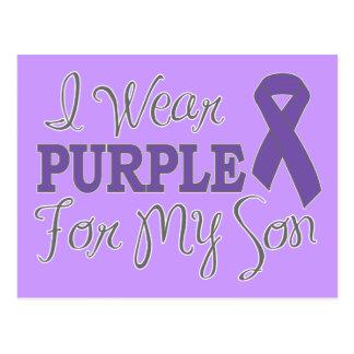 I Wear Purple For My Son (Purple Ribbon) Postcard