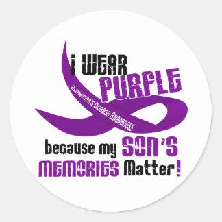 I Wear Purple For My Son's Memories 33 Classic Round Sticker