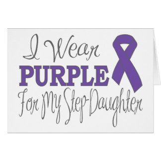 I Wear Purple For My Step-Daughter (Purple Ribbon) Greeting Card