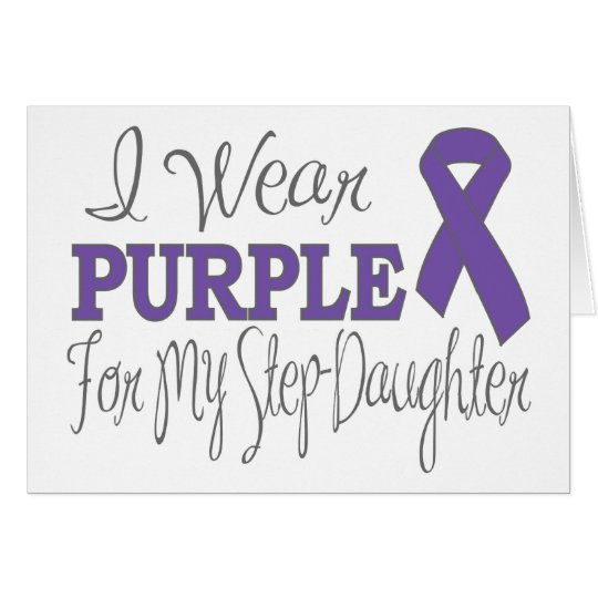 I Wear Purple For My Step-Daughter (Purple Ribbon) Card