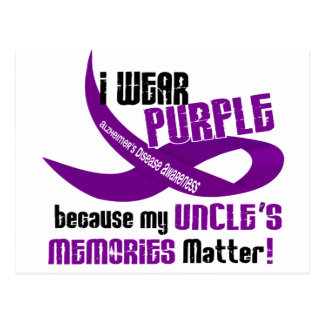 I Wear Purple For My Uncle's Memories 33 Postcard