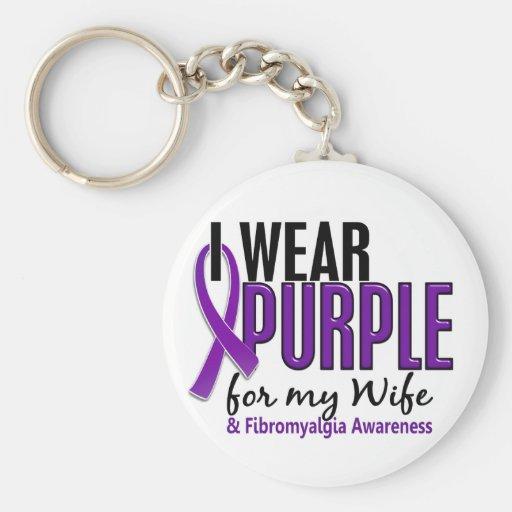 I Wear Purple For My Wife 10 Fibromyalgia Key Chain